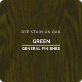 Product shot of General Finishes Green Dye Stain applied to raw oak.