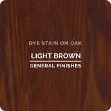 Product shot of General Finishes Light Brown Dye Stain applied to raw oak.