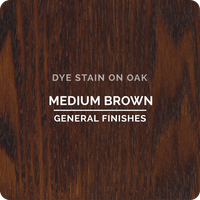 Product shot of General Finishes Medium Brown Dye Stain applied to raw oak.