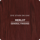 Product shot of General Finishes Merlot Dye Stain applied to raw oak.