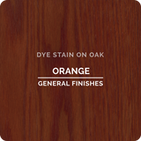 Product shot of General Finishes Orange Dye Stain applied to raw oak.
