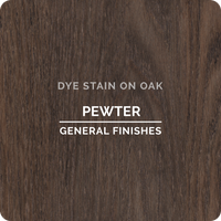 Product shot of General Finishes Pewter Dye Stain applied to raw oak.