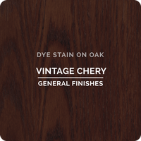 Product shot of General Finishes Vintage Cherry Dye Stain applied to raw oak.