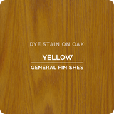 Product shot of General Finishes Yellow Dye Stain applied to raw oak.