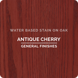 Product shot of General Finishes Antique Cherry Wood Stain applied to raw oak.