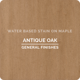 Product shot of General Finishes Antique Oak Wood Stain applied to raw maple.