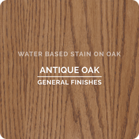 Product shot of General Finishes Antique Oak Wood Stain applied to raw oak.