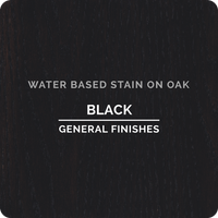 Product shot of General Finishes Black Wood Stain applied to raw oak.