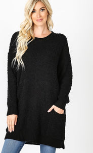 Popcorn Sweater w/pockets (black)
