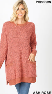 Popcorn Sweater w/pockets (ash rose)