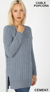 Cable Popcorn Sweater (cement)