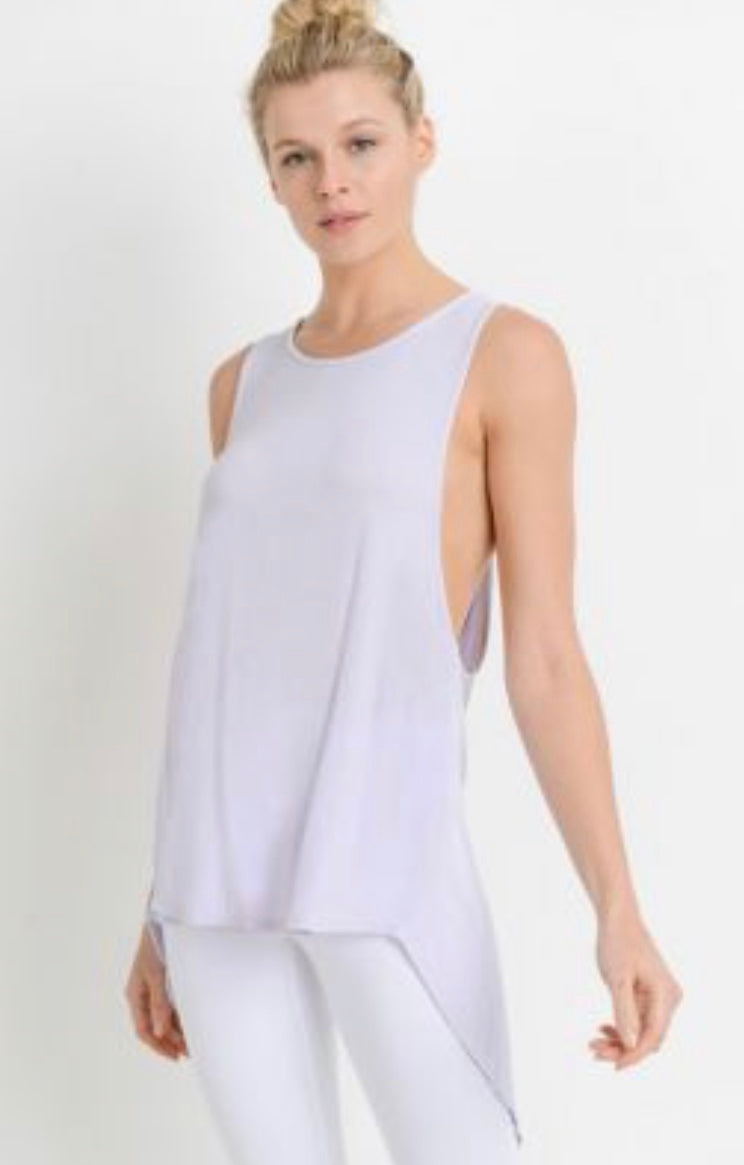 Long Cutout Back Tank (lavender)