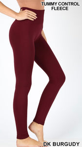 Fleece Lined Seamless Leggings (dk burgundy)