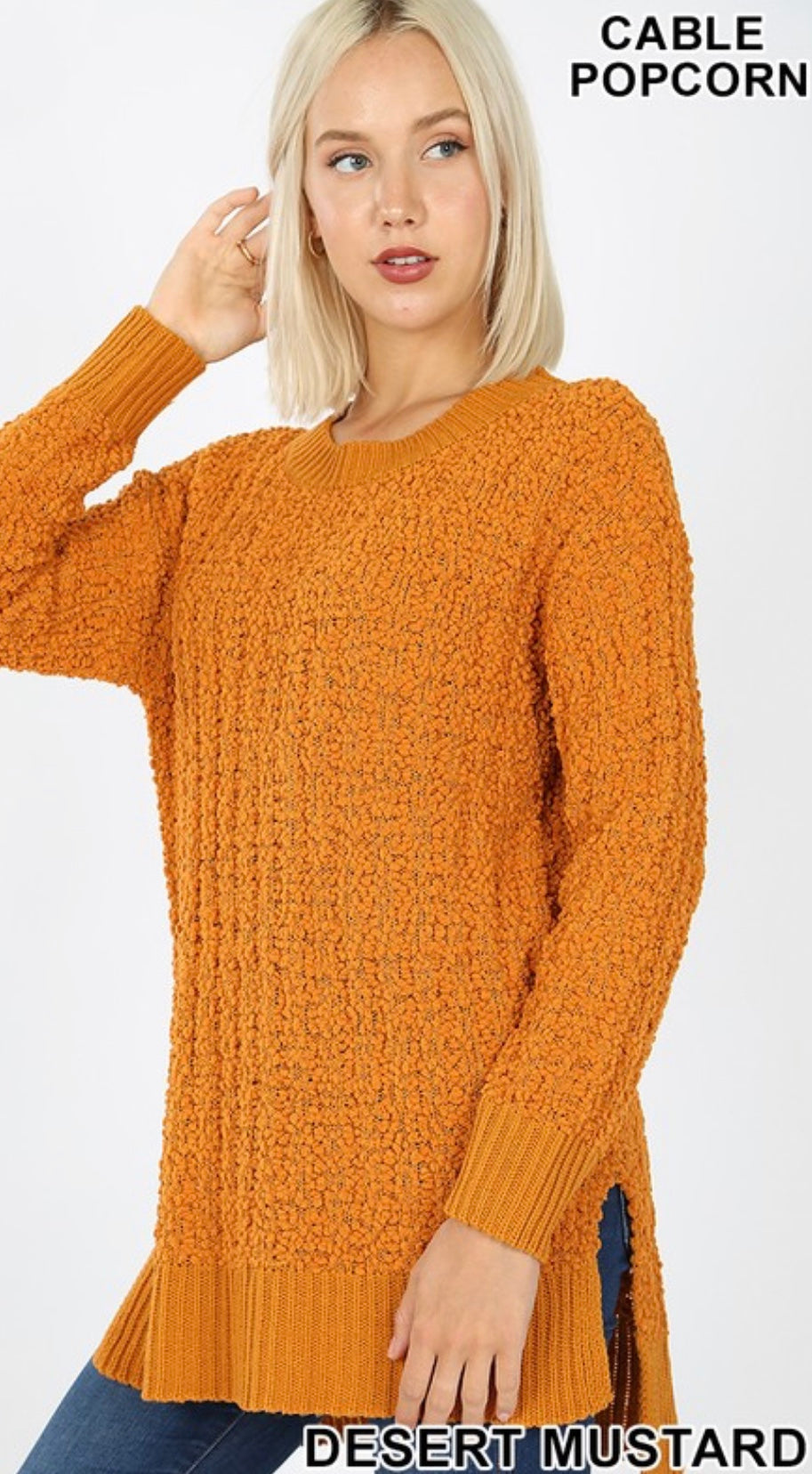 Cable Popcorn Sweater (desert mustard)