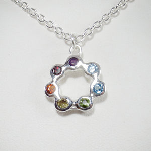 Circle of Life Pendant, medium with 3mm Full Spectrum Healing Stones