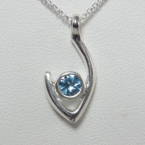 Medium Flame of Life Pendant with 5mm Blue Topaz