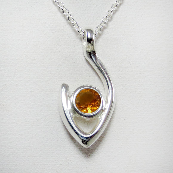 Medium Flame of Life Pendant with 5mm Orange Citrine