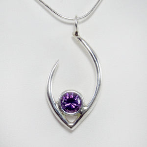 Large Flame of Life Pendant with 8mm Amethyst