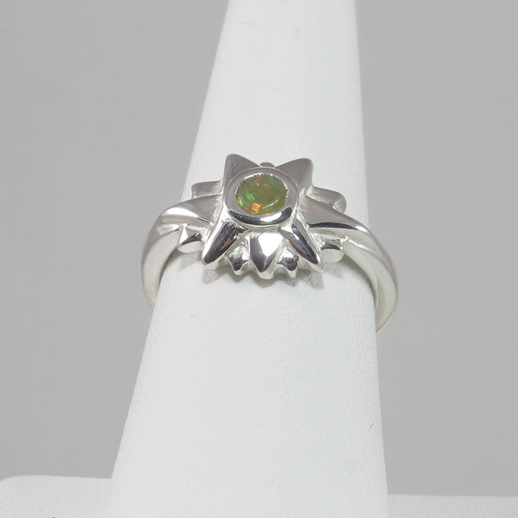 Starburst Ring with African Rainbow Opal