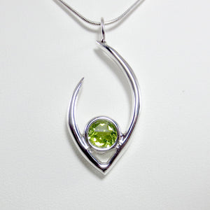 Large Flame of Life Pendant with 8mm Green Peridot