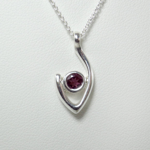 Medium Flame of Life Pendant with 5mm Rubalite Garnet