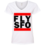 WOMEN'S FLY SFO (SAN FRANCISCO) BLACK CLASSIC PRINT SHIRTS