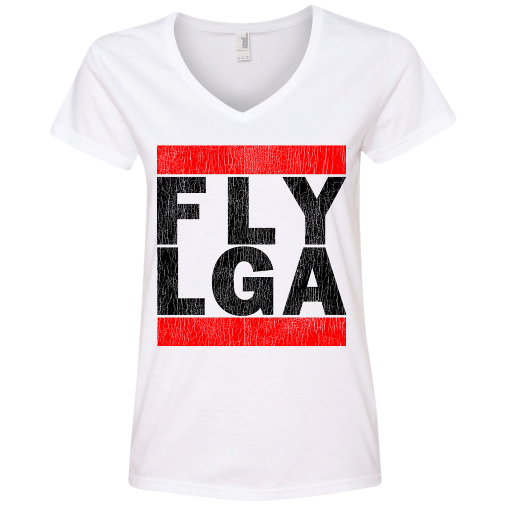 WOMEN'S FLY LGA BLACK (LAGUARDIA - NEW YORK) VINTAGE PRINT SHIRTS