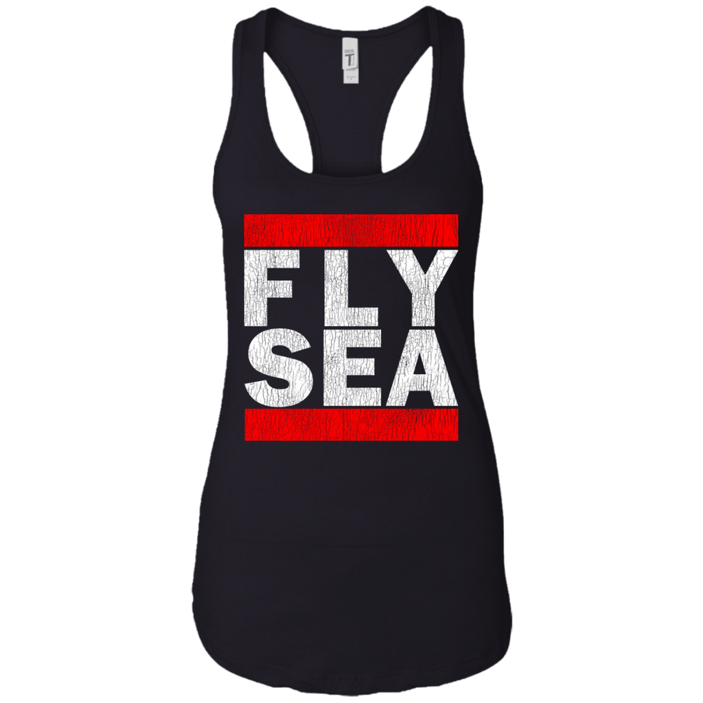 WOMEN'S FLY SEA (SEATTLE) WHITE VINTAGE PRINT SHIRTS