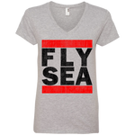 WOMEN'S FLY SEA (SEATTLE) BLACK VINTAGE PRINT SHIRTS