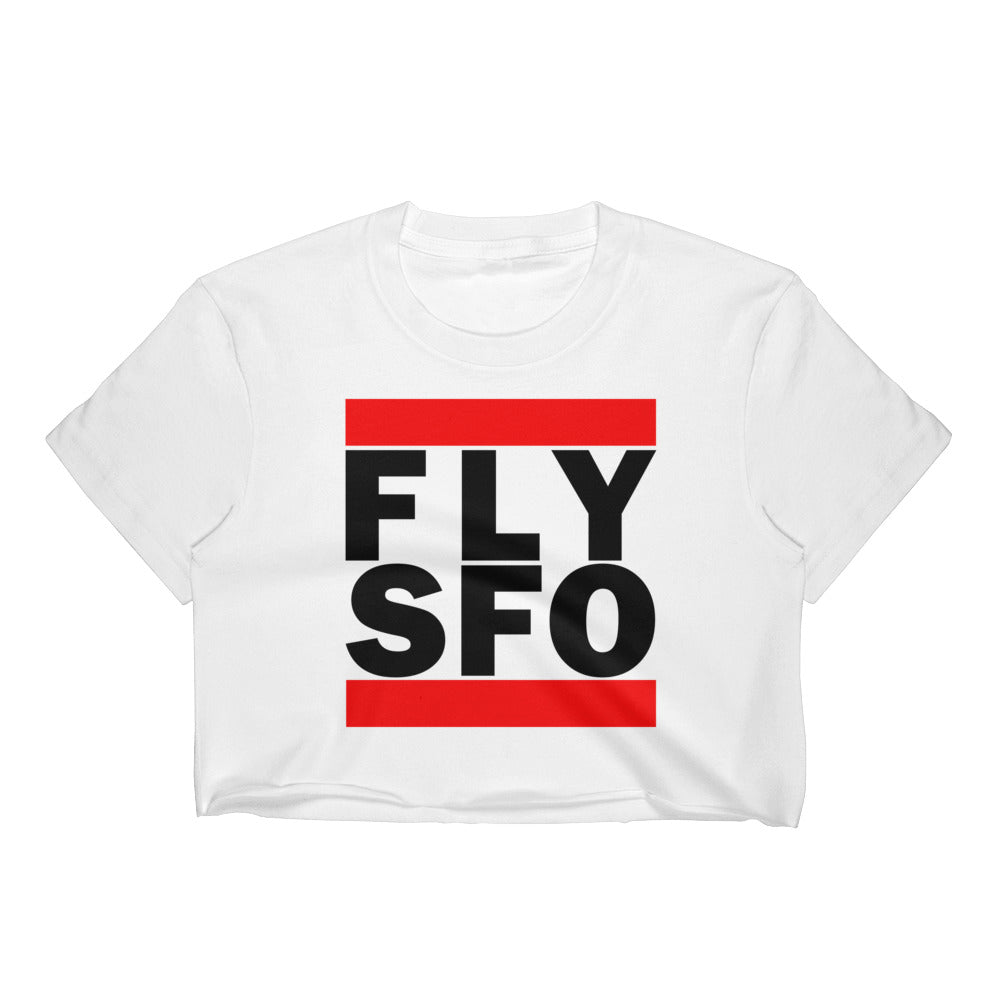 FLY SFO (SAN FRANCISCO) WOMEN'S WHITE CROP TOP