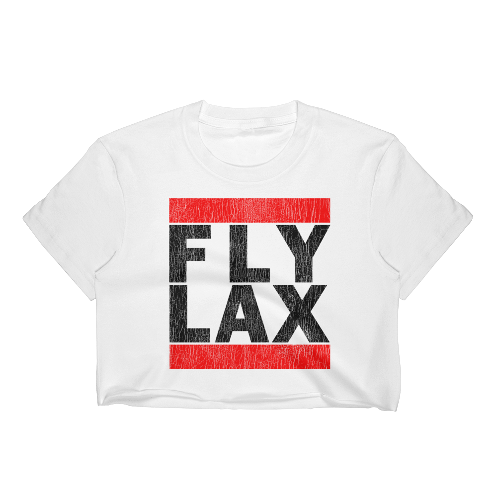 FLY LAX (LOS ANGELES) VINTAGE PRINT WOMEN'S WHITE CROP TOP