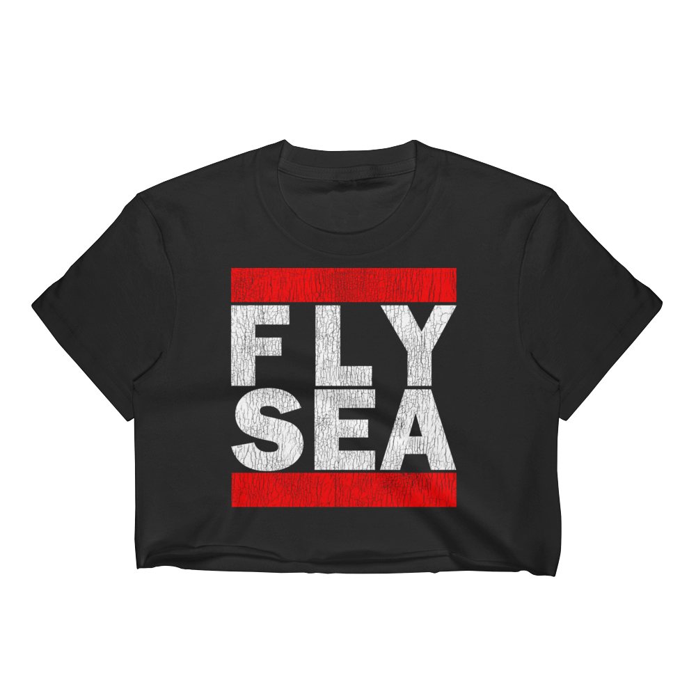 WOMEN'S FLY SEA (SEATTLE) WHITE VINTAGE PRINT CROP TOP