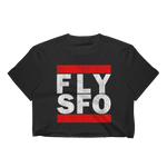 FLY SFO (SAN FRANCISCO) VINTAGE PRINT WOMEN'S BLACK CROP TOP