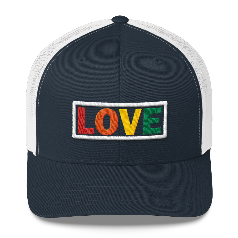 LOVE EMBROIDERED TRUCKER CAP