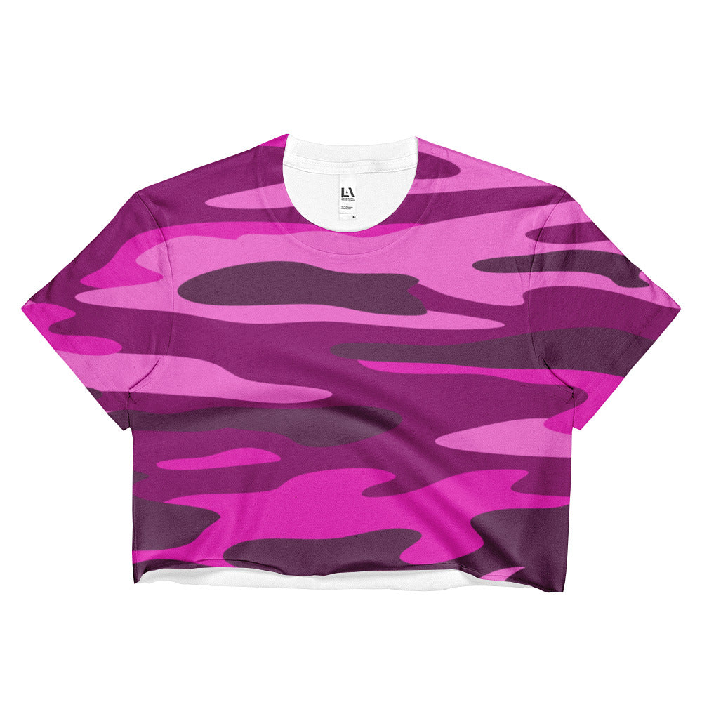 Purple Camo Ladies Crop Top