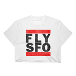 FLY SFO (SAN FRANCISCO) VINTAGE PRINT WOMEN'S WHITE CROP TOP