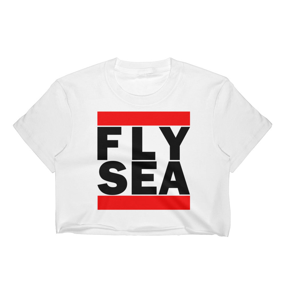 FLY SEA (SEATTLE) CLASSIC PRINT WOMEN'S WHITE CROP TOP