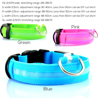 LED Rechargeable Dog Collar Sizes