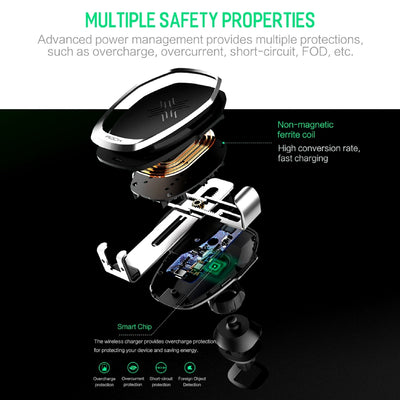 Smartphone Gravity Wireless Charging Car Mount Multiple Safety Properties