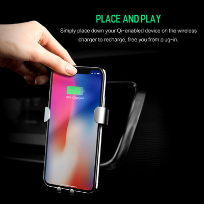 Smartphone Gravity Wireless Charging Car Mount Place and Play