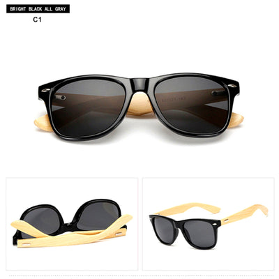 Unisex Vintage Fashion Outdoor Bamboo Sunglasses C1