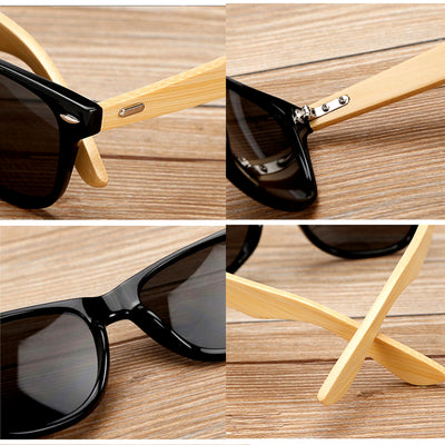 Unisex Vintage Fashion Outdoor Bamboo Sunglasses Close Up