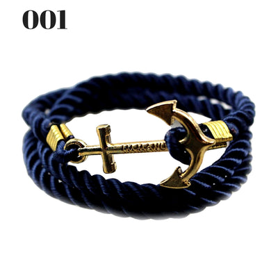 Unisex Vintage Multilayer Anchor Rope Bracelets 001