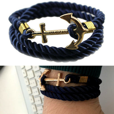 Unisex Vintage Multilayer Anchor Rope Bracelets Blue