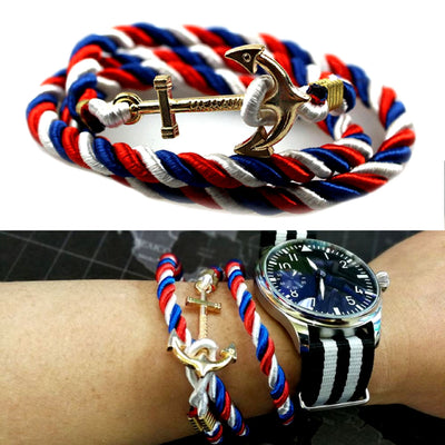 Unisex Vintage Multilayer Anchor Rope Bracelets Stripe