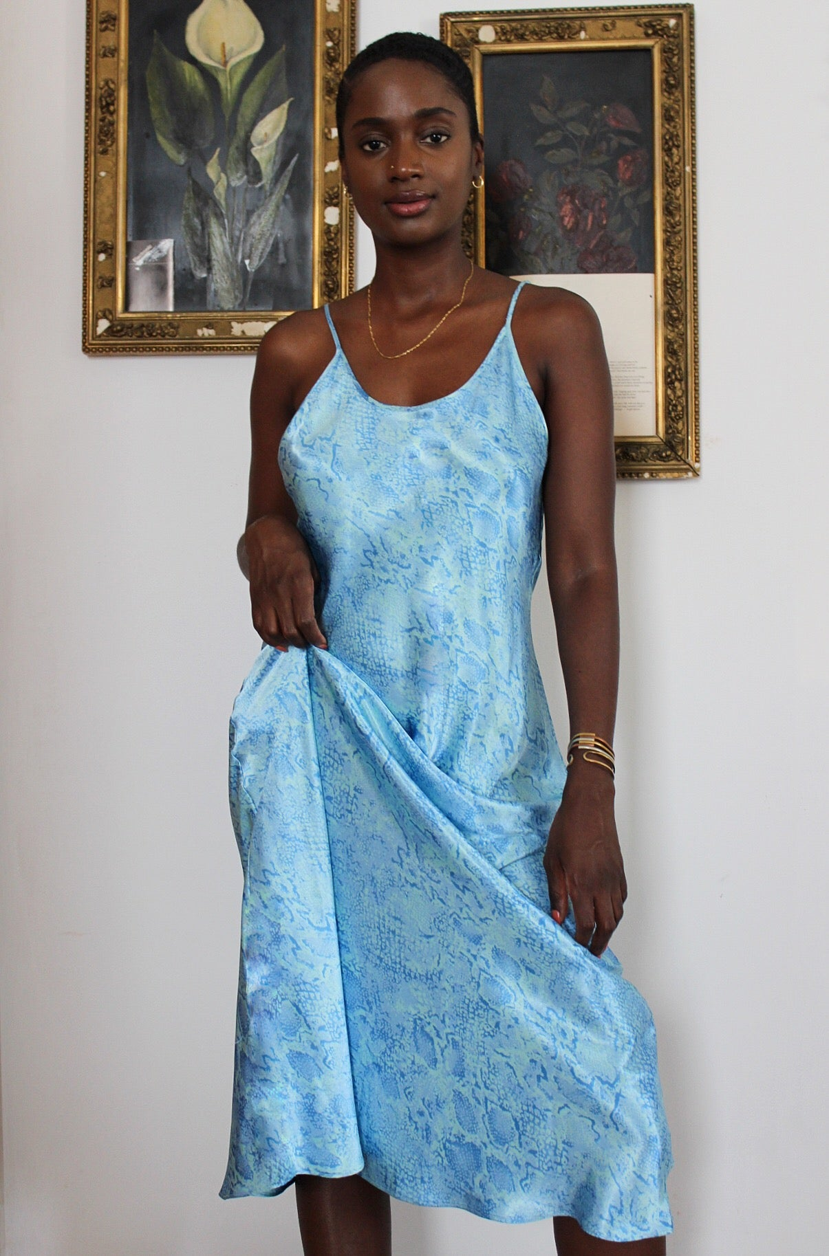 Sky Blue Snakeskin Print Slip Dress