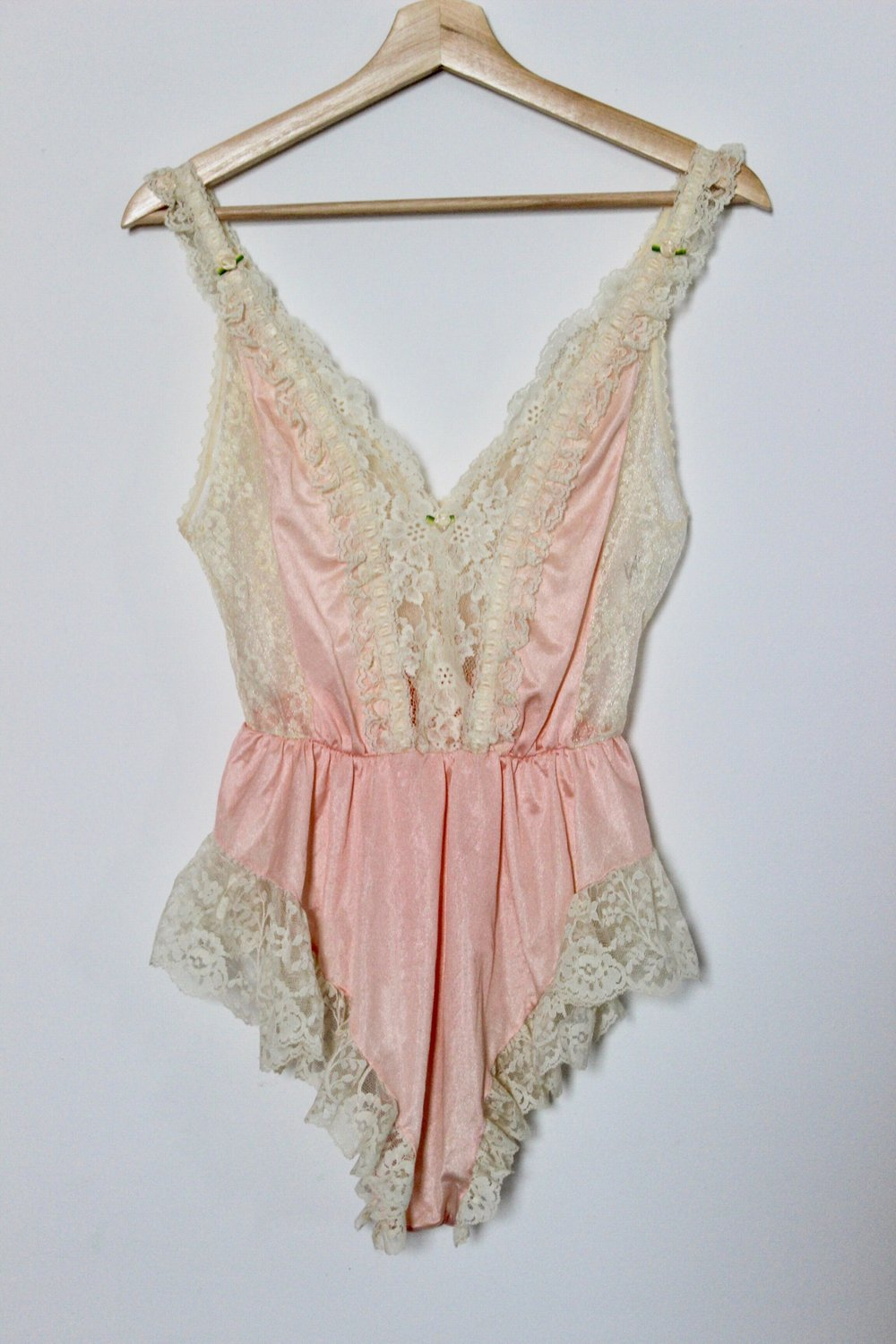 Peach & Ivory Lace Teddy Romper