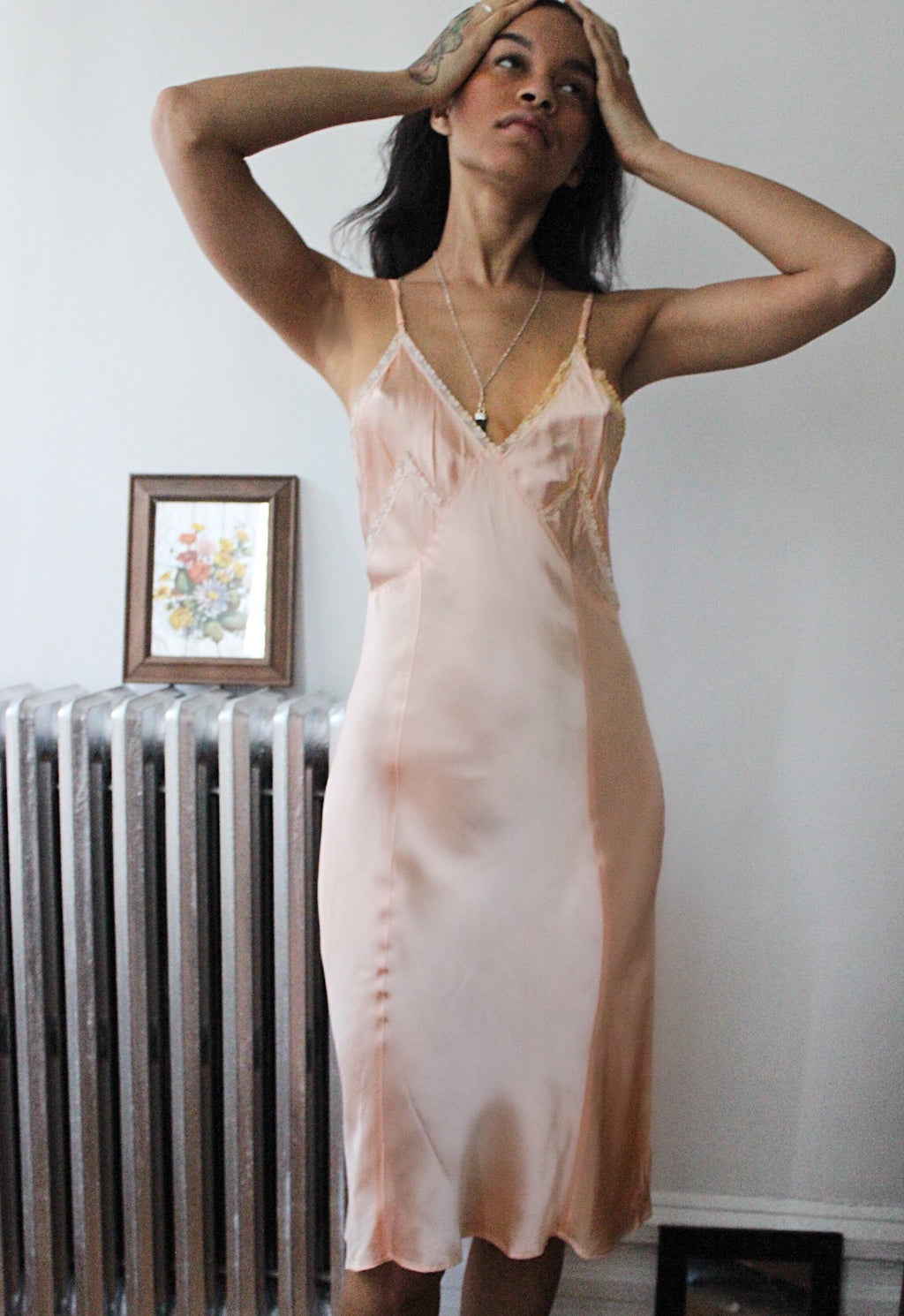 Pink Satin Tea Slip