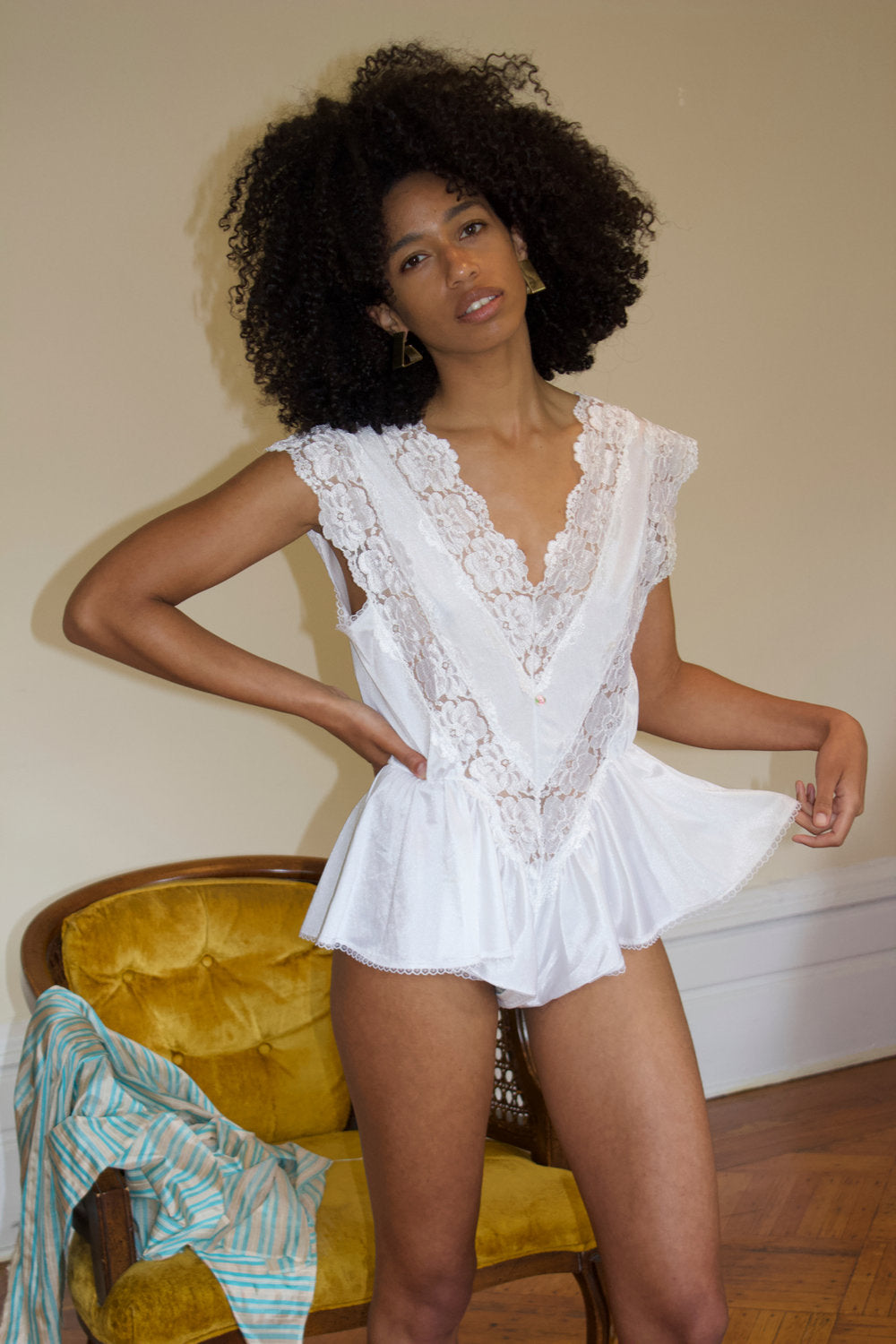 White Lace Teddy Romper