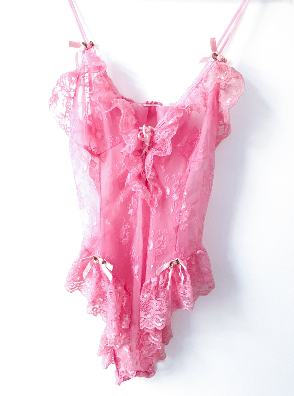 Bubblegum Pink Lace Teddy